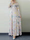 Leaves Print O-neck Long Sleeve Casual Muslim Dress for Women - Pink