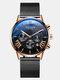 Business Men Watch Luminous Date Display Metal Mesh Belt Quartz Watch - Rose Gold Dial Rose Gold Case Bl