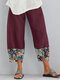 Fish Printed Patchwork Pockets Elastic Waist Pants With Pockets For Women - Wine Red