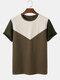 Mens Design Contrasting Colors Stitching Short Sleeve Crew Neck T-Shirt - Brown