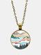 Trendy Metal Round Natural Landscape Print Glass Pendant Necklace - Gold