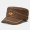 Men Solid Color Retro Keep Warm Outdoor Flat Hat Military Hat - Coffee