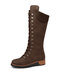 Women Casual Elegant Comfortable Flat Lace Up Mid-Calf Boots - Brown