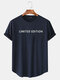 Mens Letter Print Curved Hem Cotton Casual Short Sleeve T-Shirts - Navy