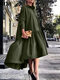 Solid Color Lapel Collar Button Long Sleeve High-low Dress - Green