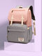 Women Multifunction Large Capacity Patchwork Mommy Backpack - Pink