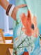 Tropical Flowers Print Sleeveless Casual Vacation Dress for Women - Blue