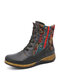 SOCOFY Retro Embroidery Floral Splicing Solid Color Leather Zipper Flat Short Boots - Black