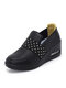 Casual Lazy Simple Slip On High-increasing Walking Shoes For Women - Black