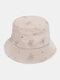 महिलाओं की कढ़ाई तितली पैटर्न प्रिंट आरामदायक Soft आउटडोर यात्रा बाल्टी टोपी - बेज