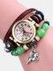 Multilayer Vintage Women Watch Decorated Pointer Four Leaf Clover Pendant Beaded Quartz Watch - #01