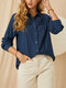 Casual Hollow-out Pleated Lapel CollarLong Sleeve Buttons Shirt - Navy