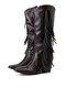 Women Pointed Toe Retro Fashion Chunky Heels Mid-Calf Tassel Cowboy Boots - Coffee
