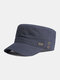 Men Cotton Solid Color Letter Pattern Labeling Sunshade Military Hat Flat Cap - Navy