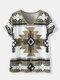 Geometrisches ethnisches Muster V-Ausschnitt Kurzarm Lose T-Shirt - Armeegrün