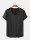 Mens Plain Breathable Solid Color Short Sleeve T-Shirt - Black