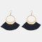 Bohemian Temperament Feather Tassel Pendant Earrings Metal Geometric Water Drop Blue Tassel Earrings - 31