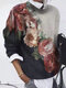 Ombre Calico Printed Long Sleeve O-neck Sweatshirt For Women - Apricot