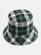 Women & Men Plaid Pattern Retro Port Style Windproof Soft All-match Travel Bucket Hat - #12