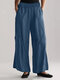 Solid Color Pockets Elastic Waist Casual Pants for Women - Blue