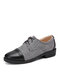 Men British Style Cap Toe Comfy Lace Up Formal Dress Shoes - Gray