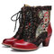 SOCOFY Retro Floral Embroidery Leather Splicing Lace-up Comfy Non Slip Size Zipper Short Boots - Red