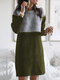 Contrast Color Patchwork Long Sleeve Casual Dress For Women - Army Green