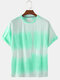 Mens Gradient Color Print Summer Breathable Loose O-Neck T-Shirts - Green
