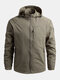 Mens Waterproof Windproof Quick Dry Loose Fit Outdoor Sport Hooded Jackets - Khaki
