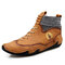 Men Microfiber Leather Splicing Non Slip Soft Sole Casual Ankle Boots - Yellow