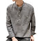 Mens Casual Loose Fit T-Shirts Cotton Linen Long Sleeve Vertical Striped Printing Stand Collar Tops