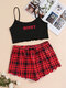 Women Letter Print Lettuce Trims Cami Crop Strappy Pajamas Sets With Plaid Shorts - Red