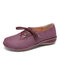 LOSTISY Splicing Bowknot Lightweight Lace Up Casual Flat Shoes - Wine Red