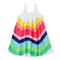 Rainbow Print Girls Sleeveless Strap Chiffon Dress For 2-9Years