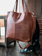 Vintage Double Pockets Front Patchwork Art Solid Large Capacity Tote Handbag Crossbody Bag - Coffee