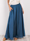 Casual Solid Color Elastic Waist Loose Plus Size Skirt with Pockets - Blue
