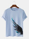 Mens Ink Feather Side Print Street 100% Cotton Short Sleeve T-Shirts - Blue