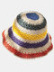 Wowen Striped Rainbow Contrast Color Beach Casual Foldable Straw Hat - Beige