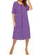 Casual Striped O-neck Short Sleeve Dress for Women - Purple