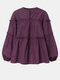 Solid Color Puff Sleeves Patchwork Casual Blouse For Women - Purple
