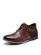 Men Retro Stitching Leather Comfy Non Slip Soft Business Casual Ankle Boots - Brown