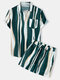 Mens Holiday Striped Chest Pocket Lapel Short Sleeve Drawstring Shorts Two Pieces Outfits - Green