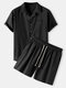 Mens Plain Color Camp Collar Pocket Drawstring Two Piece Outfits - Black