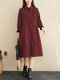 Plaid Print Patchwork Button Long Sleeve Casual Dress for Women - Wine Red