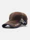 Men Cotton Stitching Letter Embroidery Metal Anchor Label Casual Sun Protection Baseball Caps - Coffee