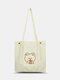 Cute Cartoon Embroidered Smooth Comfy Corduroy Tote Multi-Carry Magnetic Clasp Crossbody Bag - White