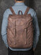 Men PU Leather Vintage 15.6 Inch Laptop Outdoor Large Capacity Backpack - Brown