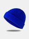 Bonnet unisexe en laine tricoté de couleur unie Casquettes de crâne Bonnets sans bord - bleu