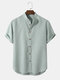 Mens Solid Color Grandad Collar Button Up Casual Short Sleeve Shirts - Green