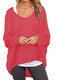 Casual Asymmetrical Solid Color Plus Size Blouse for Women - Red